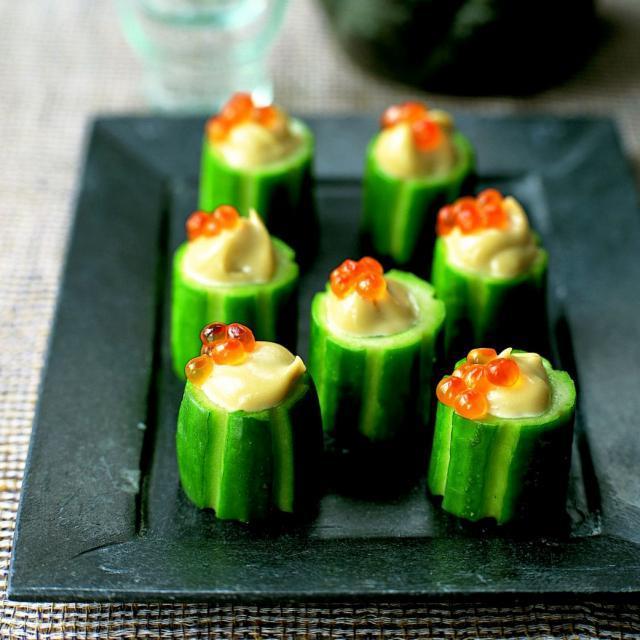 Rezept von Kimiko Barber: Gurkenbecher mit Wasabi-Mayonnaise