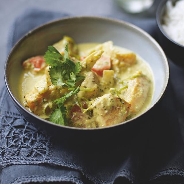 Rezept von Ghillie James: Butternusskürbiscurry mit Kokosnuss & Hähnchen