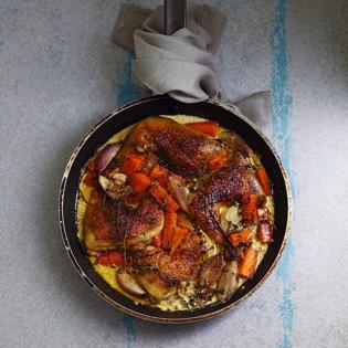 Rezept von Mark Jensen: Huhn geschmort in Weisswein, Sahne & Thymian