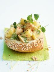 Rezept von Andreas Neubauer: Mini-Sesambrötchen mit Geflügelsalat