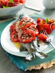 Rezept aus Fische aus heimischen Seen & Flüssen: Regenbogenforelle mit würzigen Tomaten