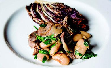 Rezept von Ursula Heinzelmann: Hühnermägen auf Bohnen-Salat mit Radicchio