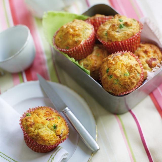 Rezept von Tarek Malouf: Muffins mit Schinken, Erbsen & Feta