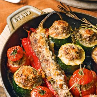 Rezept von Reinhardt Hess: Junges Gemüse mit Hackfleisch gefüllt
