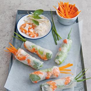 Rezept: Vietnamesische Sommerrollen mit Gemüse und Garnelen