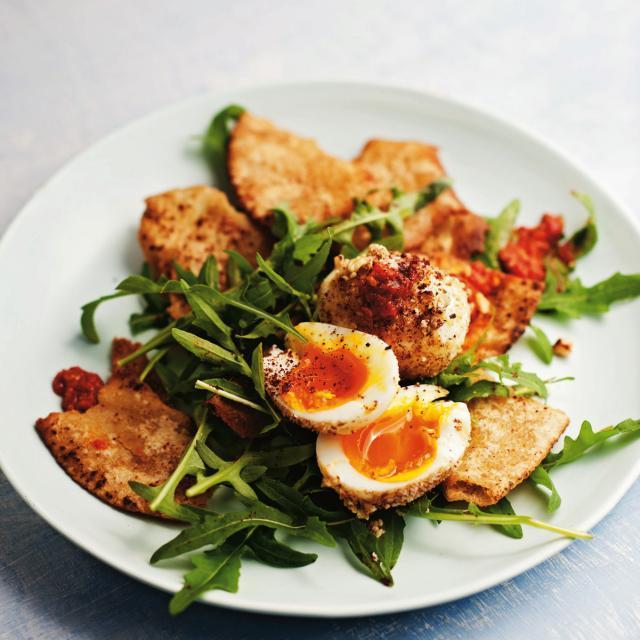 Rezept von Simon Bryant: Dukkah-Eier mit Rucola und Harissa