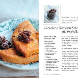 Rezept von Camille Antoine: Gebackene Parmesanschnitten mit Zwiebelkonfitüre
