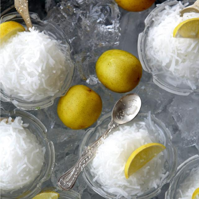 Rezept von Ariana Bundy: Ricenoodle Granita with Lime and Rosewater