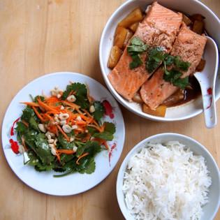 Rezept von Marc Grossman: Karamellisierter Lachs mit Papayasalat