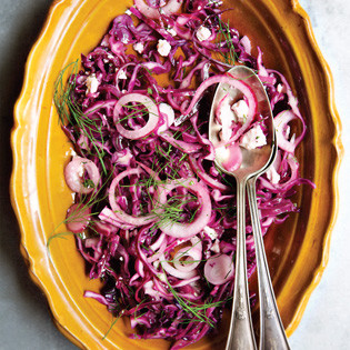 Rezept von Deborah Madison: Wilted Red Cabbage with  Mint and Goat Feta