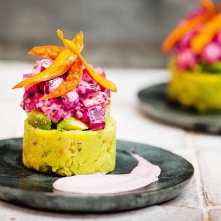 Rezept von Martin Morales: Koriander-Kartoffel-Kuchen mit Roter Bete & Avocado