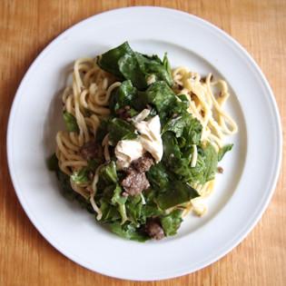 Rezept von Martin Dorey & Sarah Randell: Pasta mit Wurst, Fenchel und Spinat