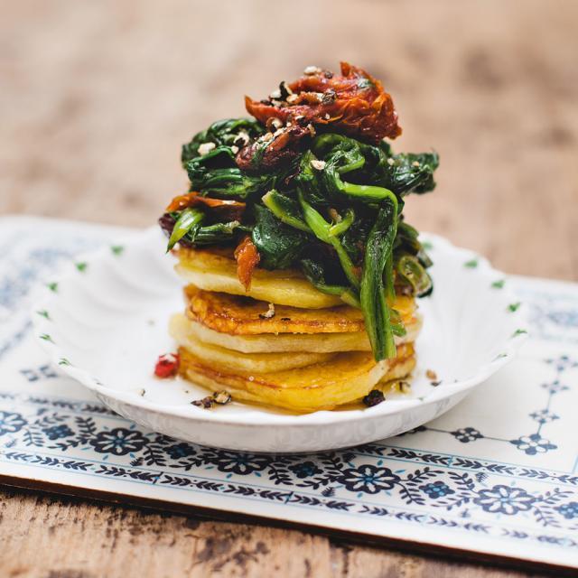 Rezept von Margit Kunzke: Kartoffeltürmchen mit Spinat