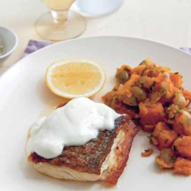 Rezept von Neil Perry: Gegrilltes Red-Snapper-Filet mit Süßkartoffelsalat