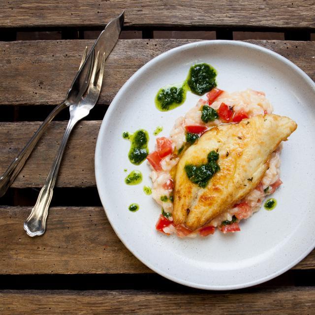 Rezept aus Die neue Fischkochschule: Gebratene Rotbarbe mit Tomatenrisotto