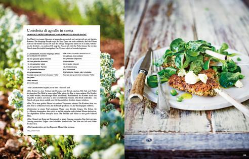 Rezept von Guy Grossi: Lamm mit Kräuterpanade und Rapunzel-Minze-Salat