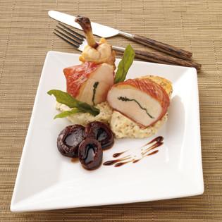 """Rezept aus """"Küchenpraxis"""": Saltimbocca-Hähnchen auf Dijonsenf-Kartoffelpüree"""