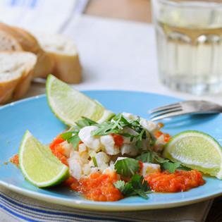 Rezept von Fabio Haebel: Ceviche mit Paprika-Kaltschale