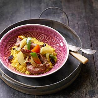 Rezept aus Zwiebeln & Knoblauch: Gebratene Zwiebeln mit Filetstreifen und orientalischen Gewürzen
