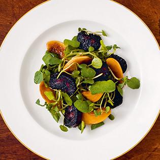 Rezept von Anna Pearson: Gebratene Blutwurst, caramelisierte Apfelschnitze, Brunnenkresse