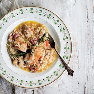 Rezept von Katie & Giancarlo Caldesi: Risotto mit Hähnchenfleisch