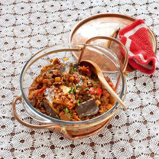 Rezept aus Türkei vegetarisch: Auberginen-Linsen-Eintopf