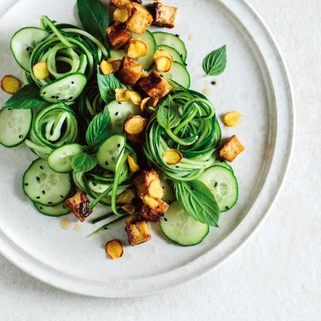 Rezept aus Krautkopf: Gurkensalat mit knusprigem Tofu