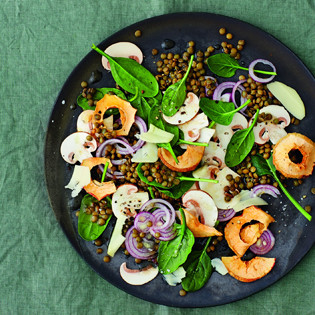 Rezept von Martina Kittler: Champignon-Carpaccio mit Spinat & Linsen