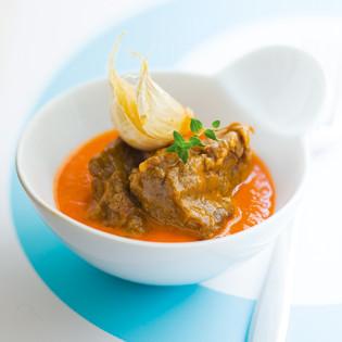Rezept aus Scook: Rinderschmorfleisch mit Paprika & Tomatensoße