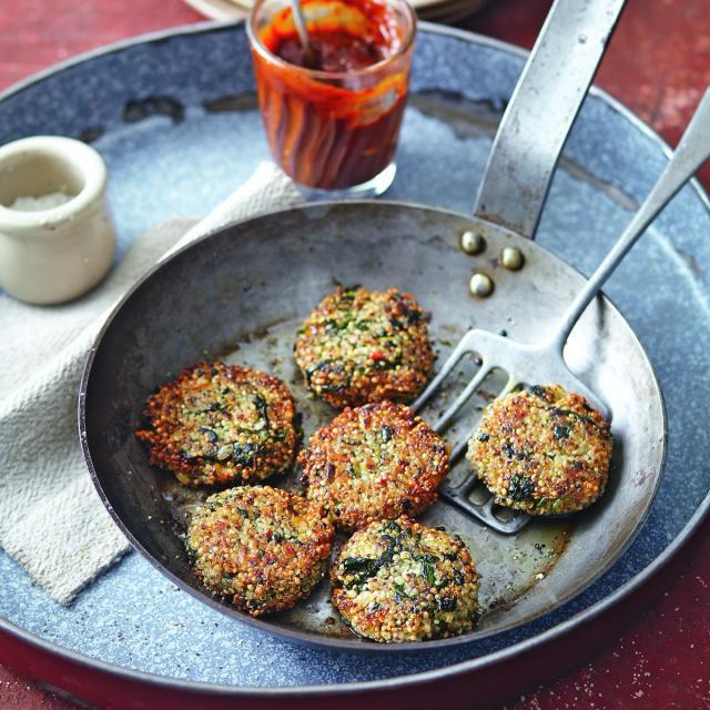 Rezept von Susanna Bingemer & Hans Gerlach: Quinoa-Burger mit Spinat