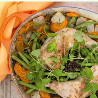 Rezept von Veronika Pachala: Hähnchen mit Belugalinsen auf Gemüse