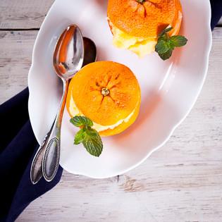 Rezept von Marcella Hazan: Mandarinensorbet in gefrorenen Mandarinenschalen