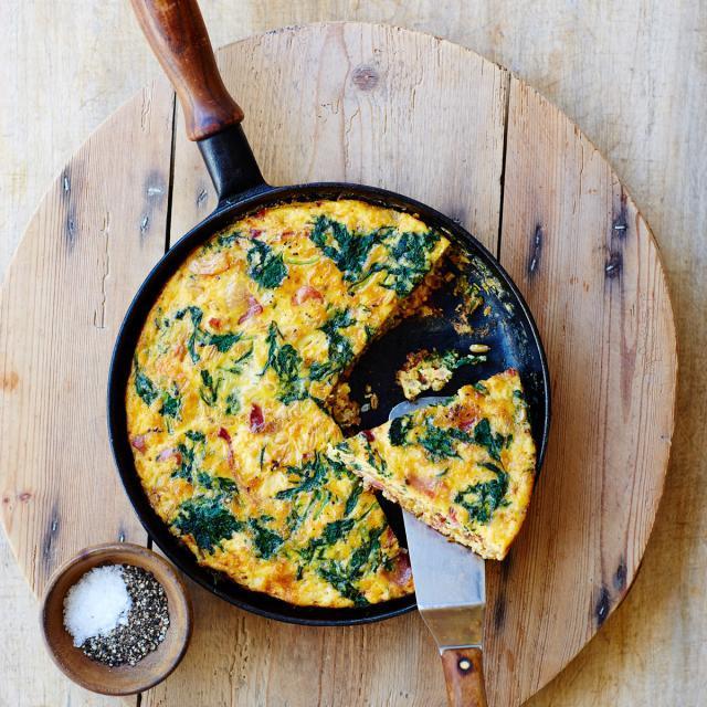 Rezept von Laura Agar Wilson: Spinat-Frittata mit Kamut & Bacon