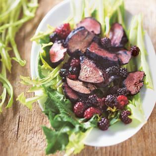 Rezept von Jean-François Mallet: Salat mit Geflügelleber & Beerenvinaigrette
