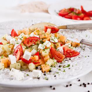 Rezept von Jenny Linford: Tomaten-Melonen-Salat mit Feta