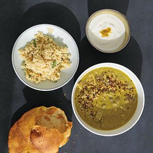 Rezept von Sören Anders: Kaninchencurry, Couscous, Joghurtdip