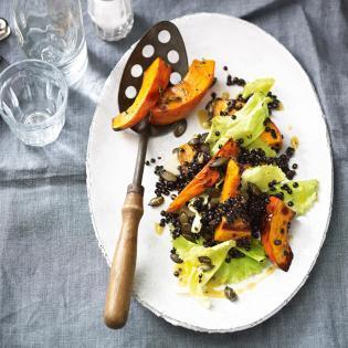 Rezept von Tanja Dusy: Linsen-Endivien-Salat mit Ofen-Kürbis