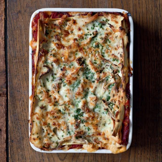 Rezept von Sandra Mahut: Lasagne mit Paprika & Brathähnchen