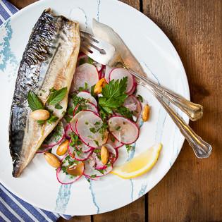 Rezept von Russell Norman: Makrele, Rauchmandeln, Radieschen & Minze