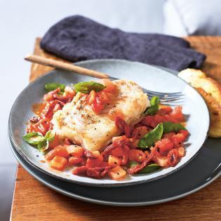 Rezept von Susanne Bodensteiner: Kabeljau mit Basilikum-Tomaten