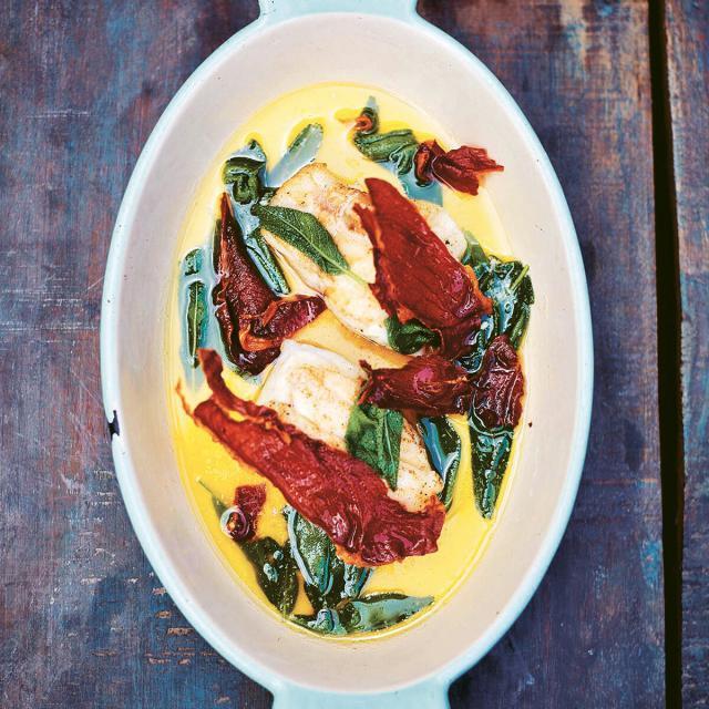 Rezept von Bart van Olphen: Kabeljau mit Parmaschinken & Salbei