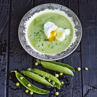 Rezept von Susanne Walter: Suppe von Erbsen mit pochiertem Ei