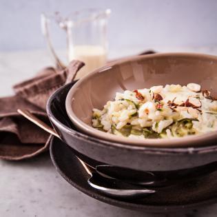 Rezept von Carlo Bernasconi & Myriam Lang: Zucchini-Risotto mit Taleggio-Crème