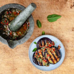 Rezept von Giorgio Locatelli: Aubergine gegrillt und mariniert