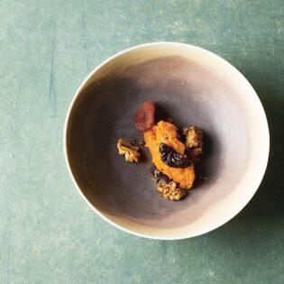 Rezept von Thomas Vilgis: Hokkaidocreme mit eingelegten Trockenfrüchten