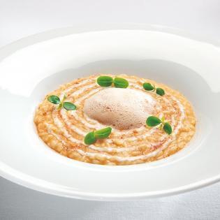 Rezept von Flavio Ghigo: Risotto mit gelbem Kürbis, Castelmagno & Amaretto-Note