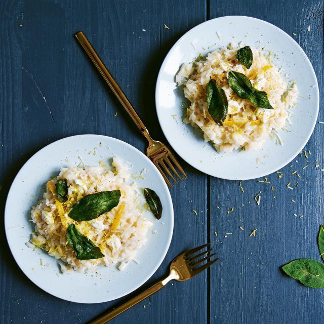 Rezept von Meike Peters: Zitronen-Mascarpone-Risotto mit knusprigem Salbei