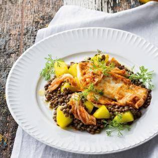 Rezept von Stevan Paul: Linsensalat, gebratener Feta, eingelegte Honig-Gurken, Kimchi, Rauchöl