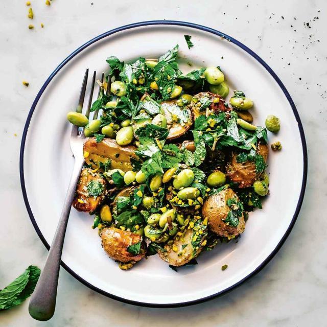 Rezept von Nicole Giger: Kartoffelsalat mit Edamame und Pistazienpesto