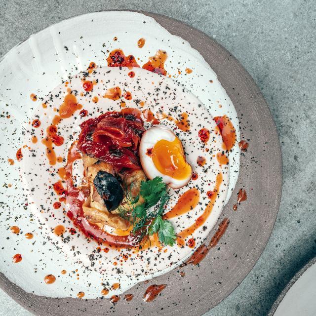 Rezept von Haya Molcho & Andreas Barotanyi: Gebrannte Auberginen mit Kimchi